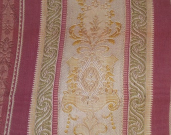 2 Antique Victorian striped geo floral mulled wine gold green fabric pieces curtains bed curtains