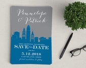 Cleveland Skyline Magnetic Save the Date