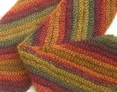 Half Price Sale, Hand Knit Scarf, Diagonal Striped Scarf, Ready to Ship, Gold, Orange, Red Scarf, Winter Scarf