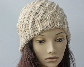 Slouchy Beanie, Spiral Hat, Hand Crochet Hat, Cream Hat, Winter Hat, Ready to Ship, Slouch Hat
