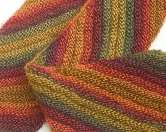 Hand Knit Scarf, Diagonal Striped Scarf, Ready to Ship, Gold, Orange, Red Scarf, Winter Scarf