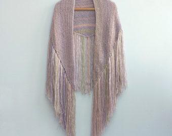 AutumnShawl, Boho Chic Fringe Shawl, Hand Knit Shawl Wrap,  Custom Colors,  Vegan, Modern Hippie Shawl