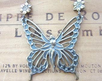 Brass Butterfly Fairy Necklace
