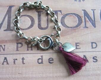 Maroon Tassel Chain Bracelet