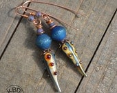 Blue Bling Snakeskin Pod, Lampwork Earrings