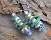 Crusty Ancient Roman Glass, Lampwork Headpins, Bone and Czech Glass Earrings