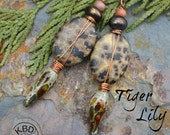 Tiger Lily, Speckled Stone ovals, Glass Headpins, Beads and Czech Glass Earrings