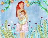 A Mother's Love Painting Wooden Art Block Print