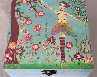 Ballerina Jewelry Box - Ballet Girl Jewelry Box - Ballet Trinket Box - Large Jewelry Box - Handmade Wooden Jewelry Box - Wood Box