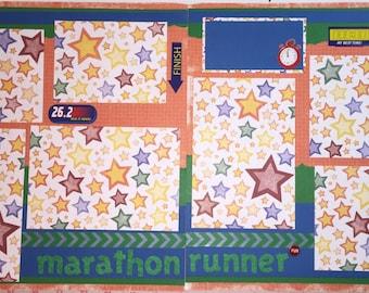 MARATHON RUNNER Premade 12 x 12 Scrapbook Page - Marathon Runner