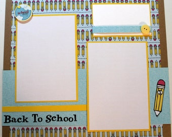 BACK TO SCHOOL 12 x 12 premade scrapbook page - School