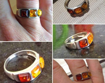 Three Shades of Amber Sterling Silver Ring