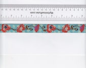 Renaissance Ribbons Anna Maria Horner Poppies Ribbon in Orange and Turquoise - Half Yard