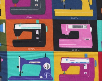 Timeless Treasures Sewing Machines in Multi - End of Bolt - Last 20 Inches