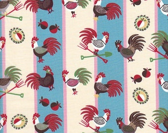 In The Beginning Fabrics Home To Roost Rooster Stripe in Blue and Cream - Half Yard