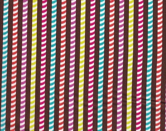 Michael Miller Patty Young Modkid Playdate Pixie Stick Stripe in Chocolate -  Half Yard