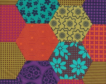 Michael Miller Patchwork Too Hexagons in Jewel -  Half Yard
