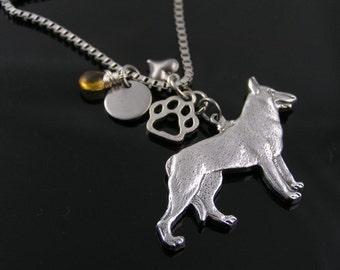 German Shepherd Necklace, GSD Jewelry, GSD Necklace, Dog Lover Jewelry, German Shepherd Jewelry, Dog Paw Jewelry, Dog Paw Necklace