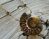 ammonite, tiger's eye, freshwater pearl pendant // nickel free jewelry // ammonite jewelry // unique handmade jewelry // HEY179