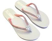 Coral Bridal Flip Flops, Bridal FlipFlop, Wedding Flip Flops, Coral Bridesmaid Flip Flops, Coral Beach Wedding  - Custom Colors Available