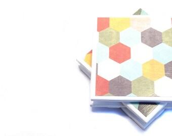 Tile Coasters - Hexagons (Set of 4 Coasters, Home Decor)