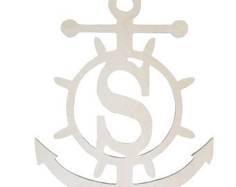 Wooden Anchor Monogram-UNFINISHED wood-Paint your favorite color