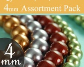 4mm Swarovski crystal pearls assorted beads diy kits 4mm round beads, You pick the colors, packages of 10 (100 total)