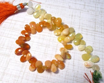 Fire Opal Briolettes Beads ,Vivid Natural Orange Mexican Cherry Opal, 6mm 8mm