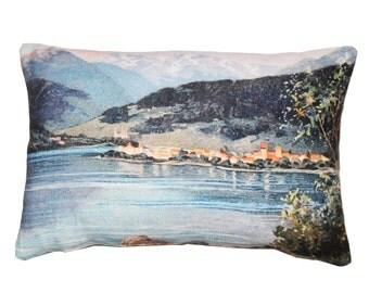 Linen cushion, Swiss mountains scenery design