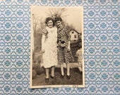 1942 photograph best friends in aprons 4x6 black and white photo