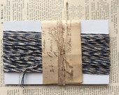 1 pack Vintage Blue and Cream Bakers Striped Twine 40ft