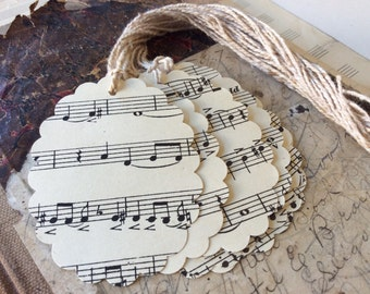 12 sheet music tags 3 inch with ties