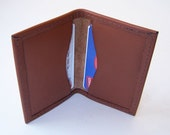 Leather Card Case - Medium Tan  - Use for Business Cards, Credit Cards, Thin Wallet