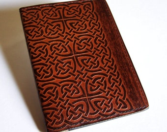 Leather Top-Stub Checkbook Cover with Celtic Rope/Knot Design - Check Book Holder
