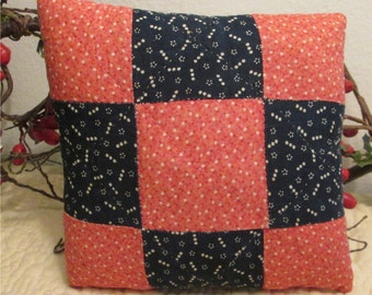 Primitive Small Red and Blue Pillow from Antique Nine Patch Quilt, Home Decor, Decorative Pillows, Accent Pillows