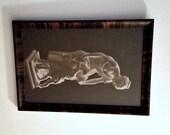 Vintage Royal Sepia Print Framed, Madrassi Broderkyssen, Brother Kiss Mother & Children sculpture, Sweden