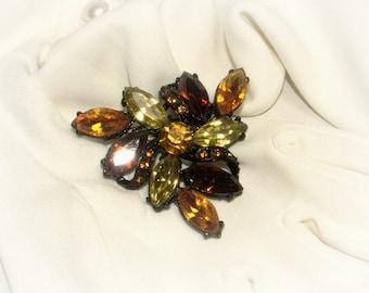 Autumn Ambers Rhinestone Pin, 1950s vintage, black enamel frame