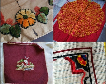 Old Needlepoint Destash Lot, hooked rug, flowers, cottage, medallion, ground, vintage fabric supply textiles