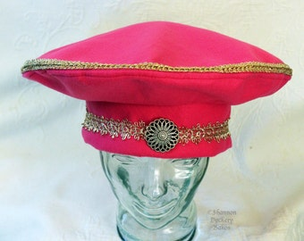 Beatles Hat Ringo Style Seargent SGT Pepper's Inspired ~ Band Beret Hat Dark Pink Felt Gold Trim 60's  ~ by Shannon Dockery Bakos
