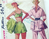 Vintage 50s Sewing Pattern Simplicity 8480 ROCKABILLY Beach Bra, Cover up, Shorts and Pedal Pushers / Size 11 Bust 29