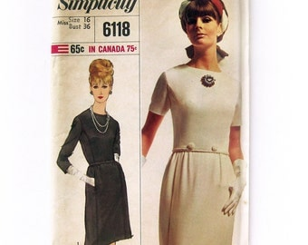 Simplicity 6118 1960s Misses Designer DRESS Pattern Womens Vintage Sewing Pattern / Size 16 UNCUT FF