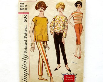 1960s Cigarette Pants Shorts and Pullover Top Pattern Vintage Sewing Pattern Simplicity 2814 / Size 14 Bust 34