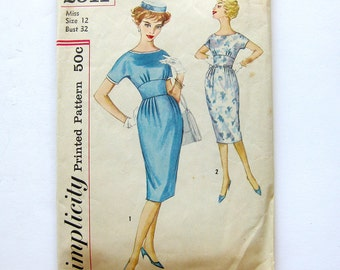 1950s Vintage Dress Pattern Simplicity 2911 Fitted Midriff One-Piece Wiggle Dress / Size 12 Bust 32