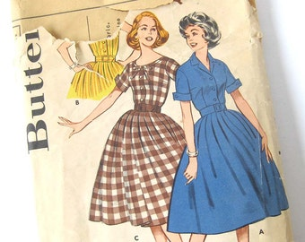 1960s Rockabilly Dress Pattern Butterick 9261 Short Sleeve Dress wit Full Skirt and Cuffed Sleeves / Size 14 Bust 34