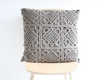 Big brown crochet pillowcase