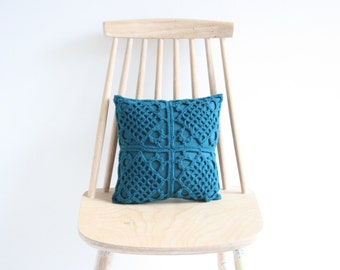 Petrol crochet pillowcase 30 x 30 cm