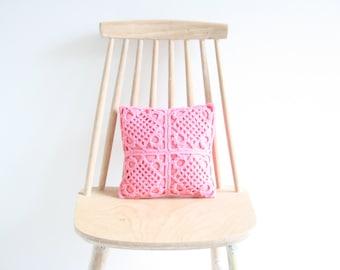 Bright pink crochet pillowcase 25 x 25 cm