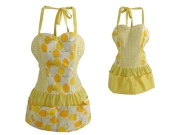 Lemon Citrus and Gingham Reversible diva hostess Apron