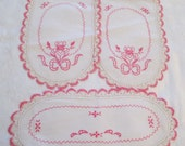 Vintage Linen Doily Dresser Table Scarf Embroidery Lace Crochet Edging Pink Lot 3