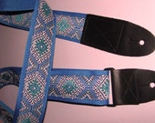 Blue-White-Teal Embroidered Trim GUITAR STRAP,Ethnic Tribal
